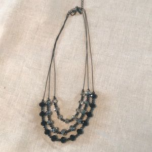 Beaded Necklace - Black, Gray, silver and clear